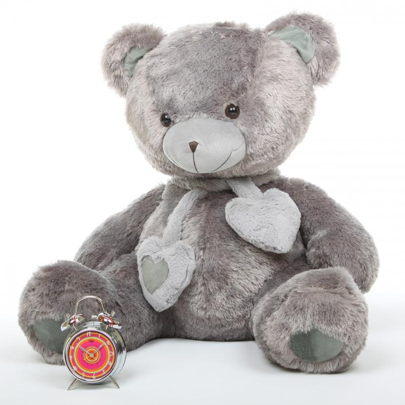 Giant Teddy Angel Hugs Plush Silver Grey Heart Teddy Bear...
