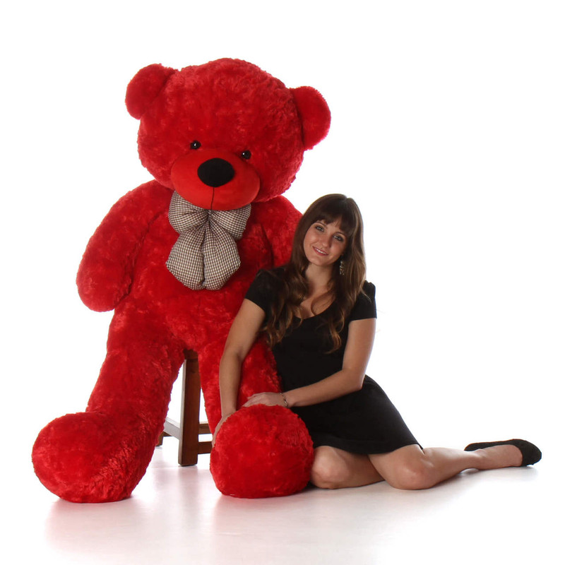 Giant Teddy Bitsy Cuddles Soft and Huggable Jumbo Red Ted...