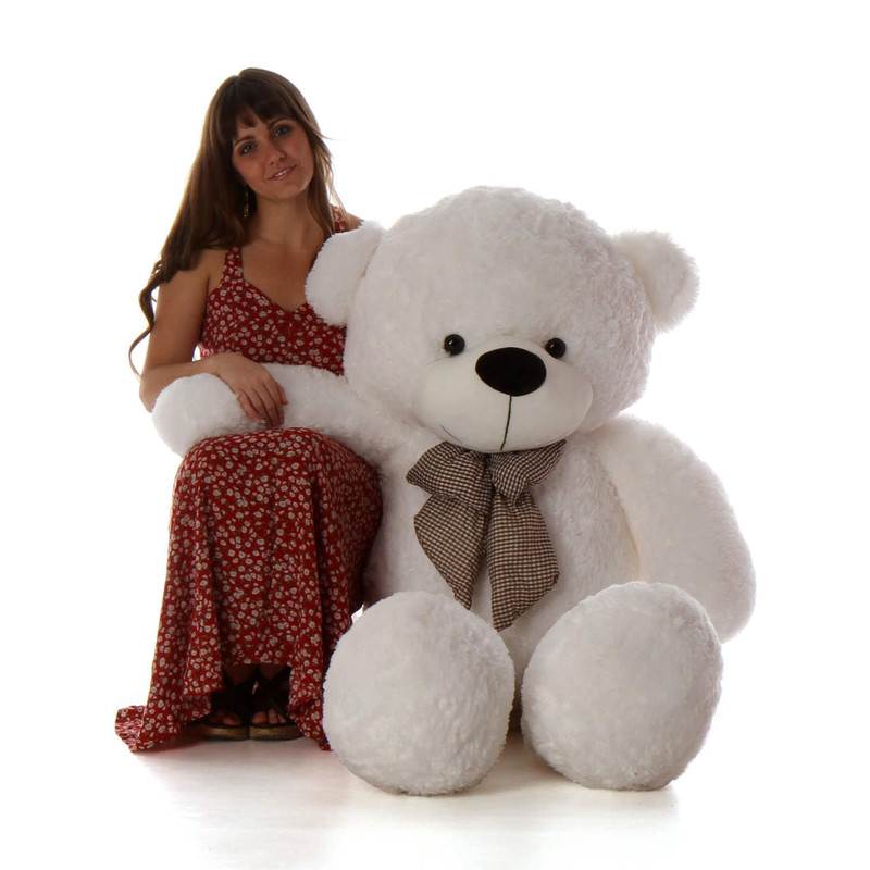 Giant Teddy Coco Cuddles Giant White Stuffed Teddy Bear 6...