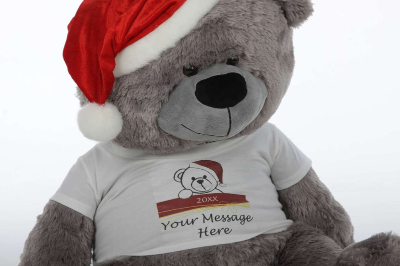 Giant Teddy Personalized Big Silver Christmas Teddy Bear .