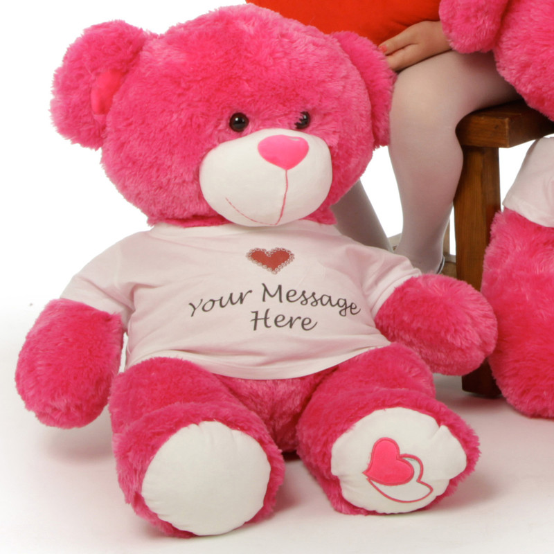 Giant Teddy Huge Personalized Hot Pink Teddy Bear Cha Cha...