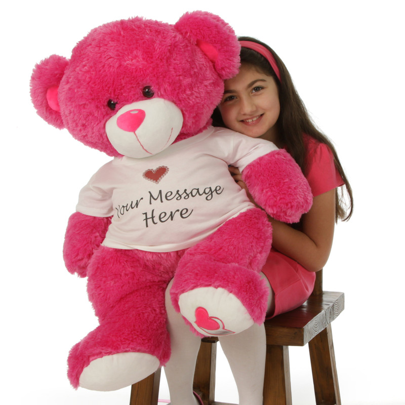 Attractive Giant Teddy Huge 36in Personalized Hot Pink Teddy Bear Cha Cha Big Love In  Cute Sweet