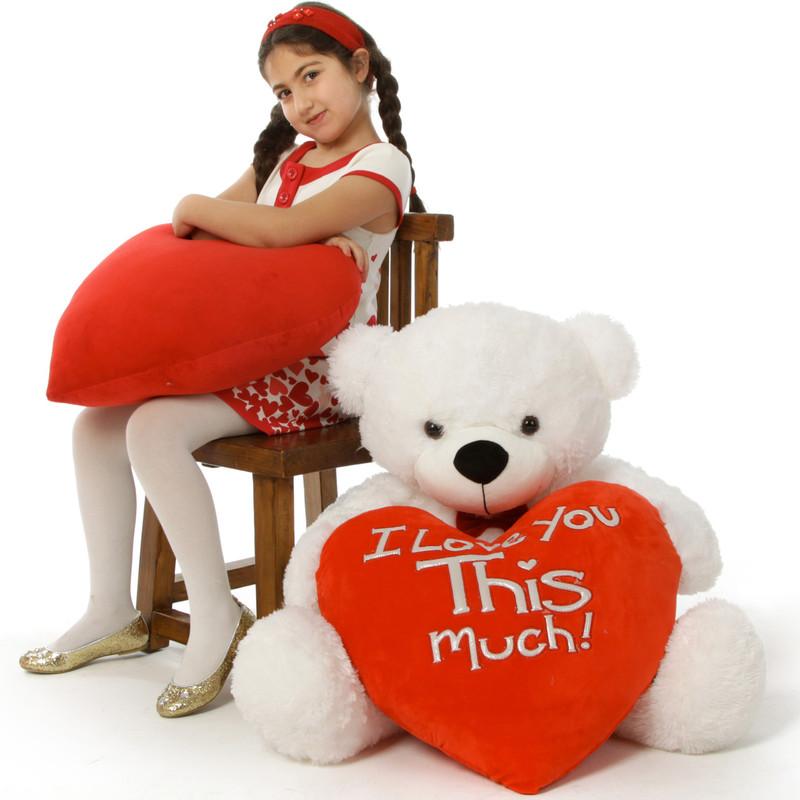 Giant Teddy Big White Valentine's Day Teddy Bear Coco Cud...