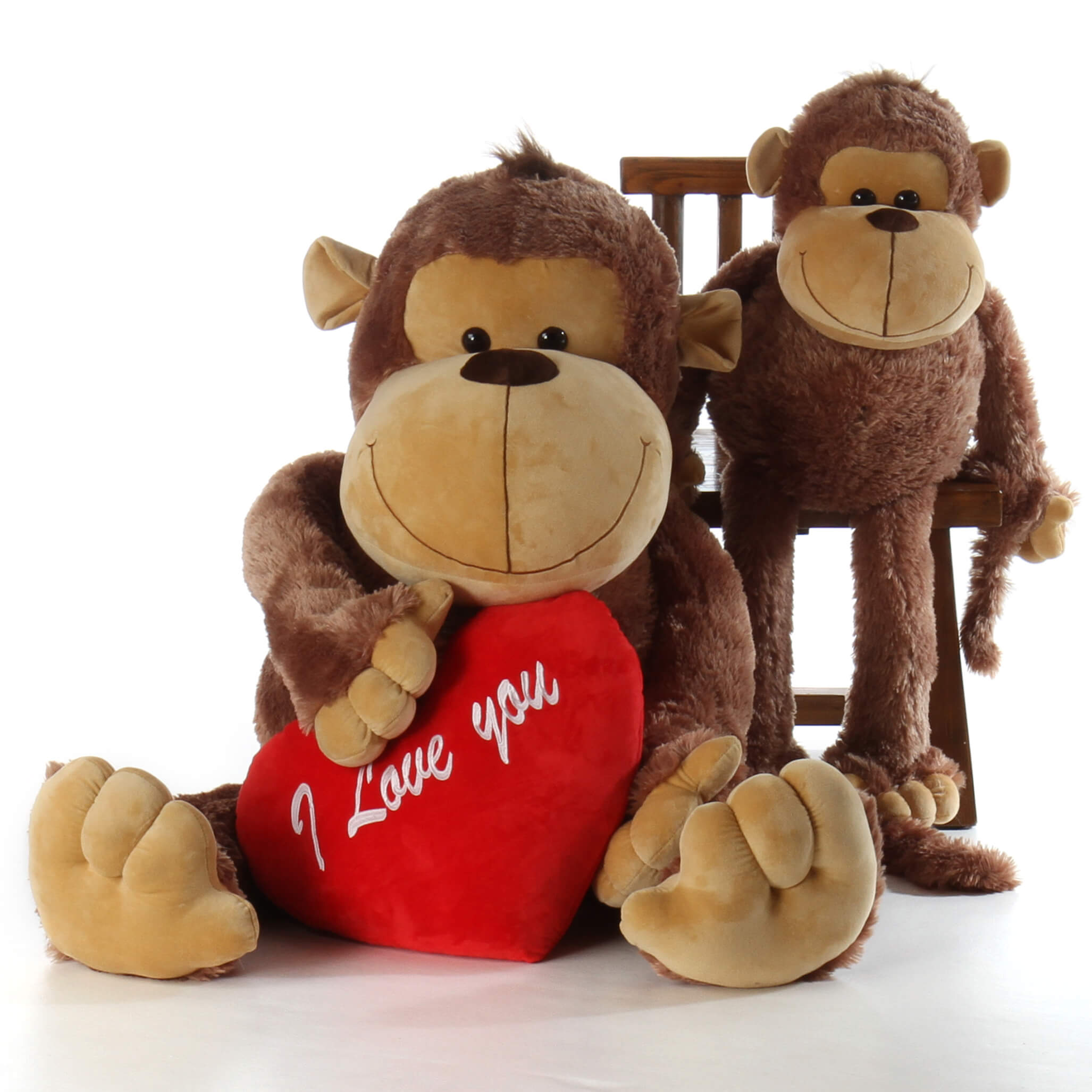 5ft life size stuffed monkey big daddy with i love you heart pillow from giant teddy brand. Black Bedroom Furniture Sets. Home Design Ideas